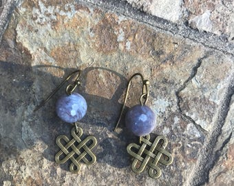 Jade and celtic knot earrings