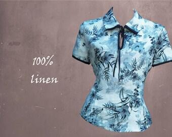 Linen blouse with bow, linen blouse, summer blouse, retro blouse