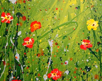 Giclee print of original acrylic painting abstract californian poppies