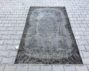 Gray rug 6.7 x 3.9 feet,Oushak rug,Turkısh rug,turkısh carpet,overdyed rug,bohemian rug,vintage rug,home decor rug,floor rug,home living rug