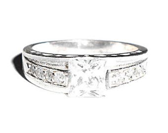 Sterling Silver CZ Square Set Band Ring