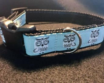 Oliver's Dog Collar - Teal and White Owls