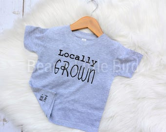 Kids Locally Grown Shirt Infant or Toddler Graphic T Shirt grey and black or custom colors available