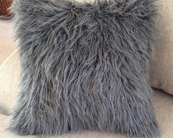 Charcoal Gray faux Fur Pillow - Grey Throw Pillow - Toss Pillow - Faux suede - bedroom pillow - Home Decor - cushion - Throw Pillow cover