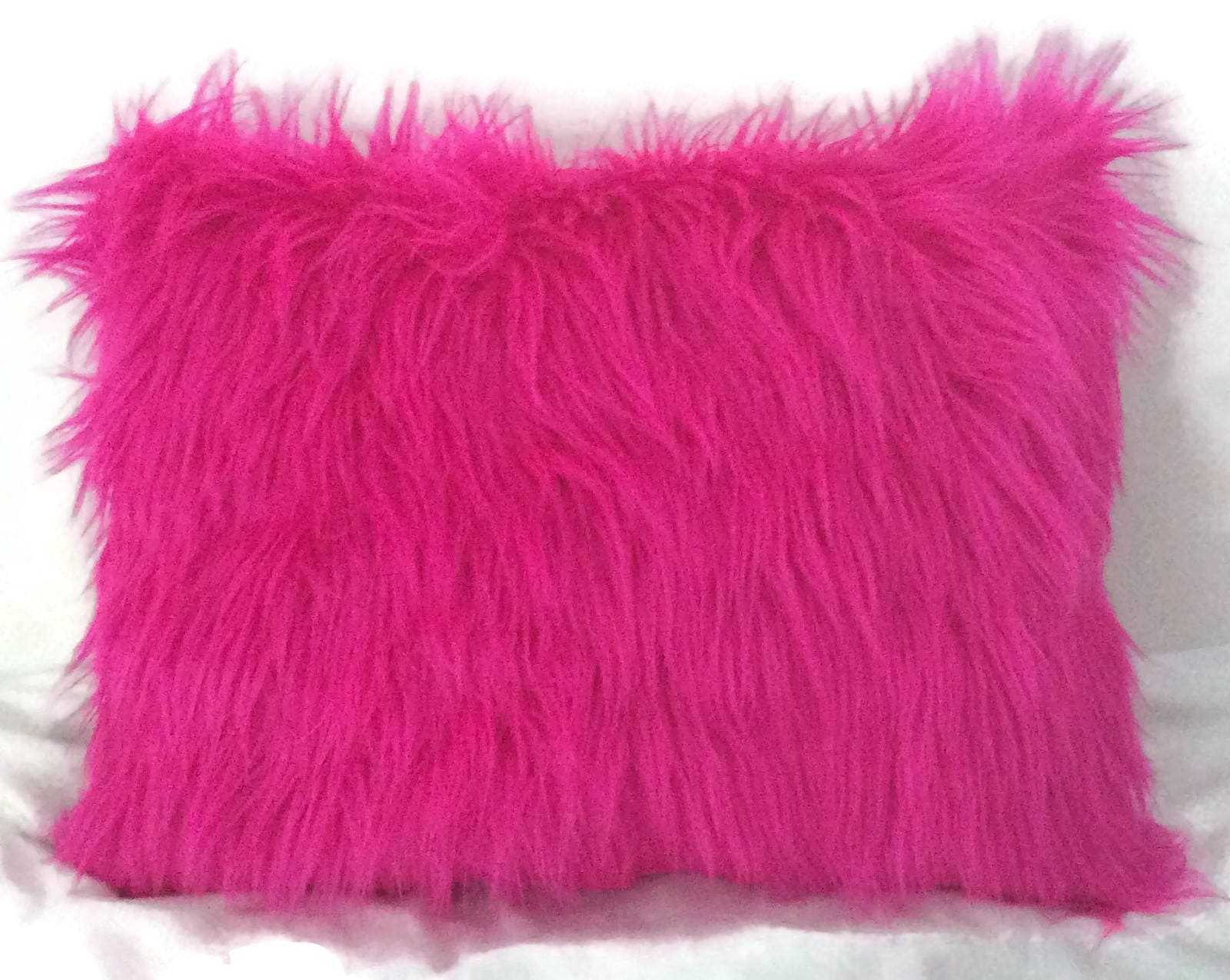 Faux fur Pink pillow Pink faux fur pillow Pink Throw pillow