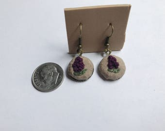 Embroidered flower earrings