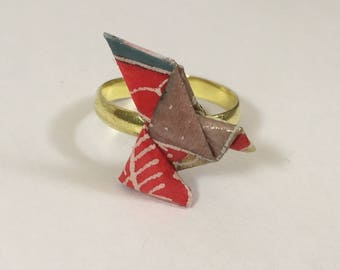 Dove in washi paper origami ring