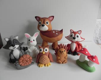 Woodland animals cake toppers, handmade, edible, birthday cake, fondant animals