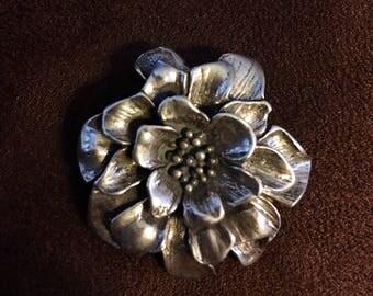 Vintage Silver Flower Brooch marked 925