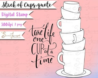 Stack of cups - Coffee cups clipart - Kitchen items clipart - Tea cup clipart - Instant Download - 2  Digital Stamps - Cups coloring page -