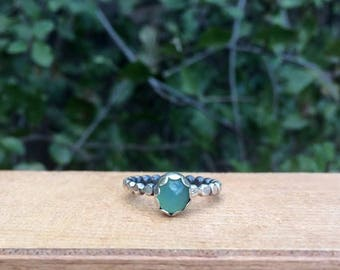 Sterling Silver Chrysoprase Ring / Sterling Silver Ring / Australian Chrysoprase / Small Chrysoprase / Chrysoprase Stack Ring / Stackable