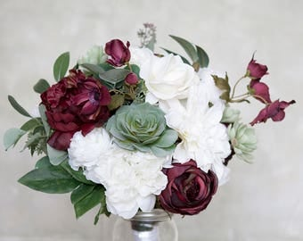 Succulent Bouquet, Burgundy Bouquet, White Bridal Bouquet, Silk Bridal Bouquet, Bouquet, Wedding Flowers, Peony Bouquet, Silk Flower Bouquet
