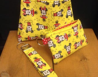 Mickey & Minnie Mouse Small Zipper Pouch ~ Coin Purse ~ Key Fob ~ Sunshine Yellow