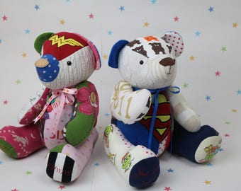 Memory bear pattern, keepsake teddy bear pattern, teddy bear made from baby clothes with tutorial style instructions
