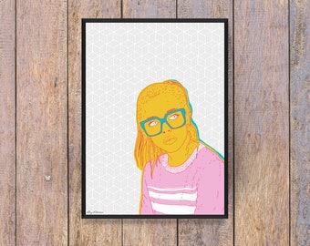 "Pop! : Illustration A4 ""The Girl Hoodie"" - Pop Art - poster - Poster - wall - Digital"