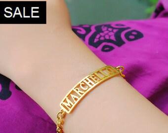 Gold Name Bracelet, Name Bracelet, Personalized Name Bracelet, Custom Name Bracelet Only 39.20