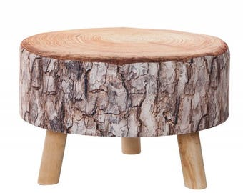 Pouf, stool seat, Tree fabric 50x30 cm, hocker, wooden legs, eco stool, eco design