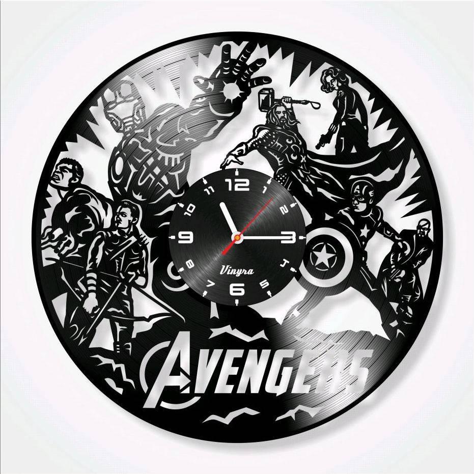 Avengers clock vinyl record clock iron man wall decor tor art zoom amipublicfo Images