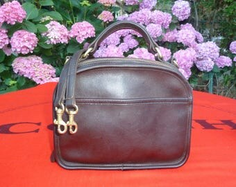 Vintage Coach Bag, Lunchbox Zip Bag, Brown Leather Top Handle, Crossbody, Shoulder Bag, Style 9991, USA, with Coach Dust Cover, Unique Purse