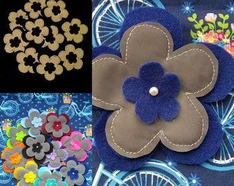 Blue Hi-Vis Reflective Flower Brooch   Cycling Accessories   Children's Safety Accessories   Felt Flower Badge Patch