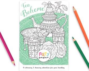 Tea Boheme Adult Colouring Book A5