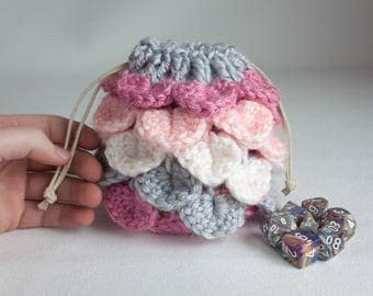 Dice Bag with Lining - Pink and Gray Dragon's Egg Pouch - Crocheted Coin Purse - D&D Bag of Holding