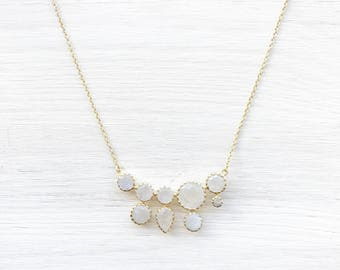 Moonstone Cluster Necklace in Gold