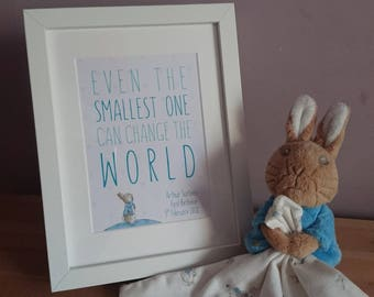Personalised Christening Gift - custom new baby frame, new baby gift, christening present, Peter Rabbit, Even the Smallest One Can Change