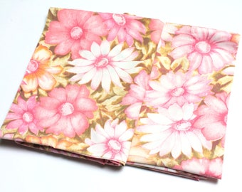 Vintage Pink/Brown/Beige/White Floral Pillowcases (x2)