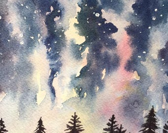 Original watercolor celestial forest painting
