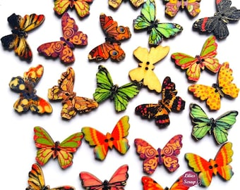 10 buttons 2.5 cm 2 holes wood butterflies painted wooden Butterfly buttons