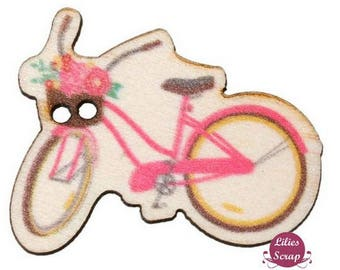 5 beautiful decorative bicycle 3.9 cm - Rare 2-hole wooden buttons
