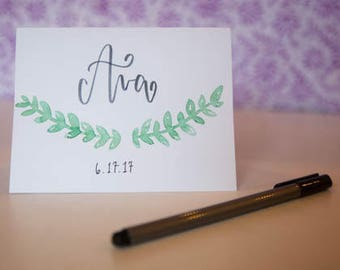 Birth Announcement Calligraphy Notecards