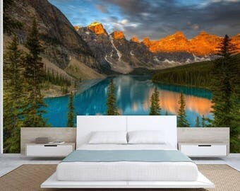 Lake mirror wallpaper, lake wallpaper, mountain lake wallpaper, lake mural, self-adhesive vinly, mountains wall mural, mountain lake,