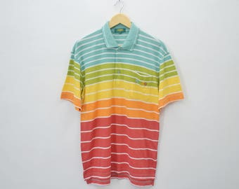 KENZO Paris Shirt Vintage 90's Kenzo Golf Multicolor Stripes Polo Tee T Shirt Size M