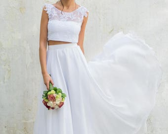 Cropped Wedding Dress, Bridal Separates, Two Piece Crop Top Dress, Wedding Dress, romantic wedding dress