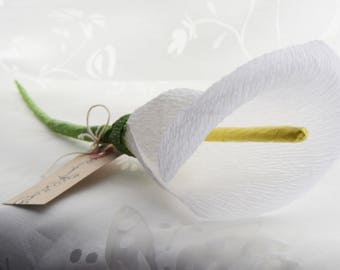 White single stem paper calla lily, for weddings or home decor.