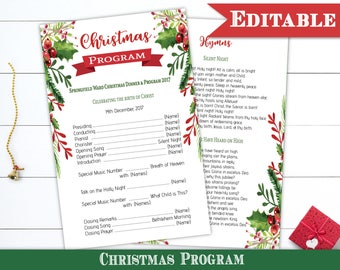 Christmas program etsy christmas program template editable pdf christmas dinner program printable instant download lds pronofoot35fo Gallery