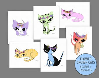 Card Set - Art of Cats Wearing Flower Crowns, Floral Headbands, Blank Note Cards, Cute Drawings of Cats, Gift for Cat Lovers - #FCCGC-SET