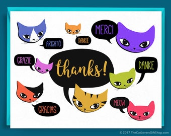 Cat Thank You Card - Cats Thanks in Multiple Languages - Unique Blank Note Cards with Purple, Pink, Red, Orange, Green and Yellow Kitties