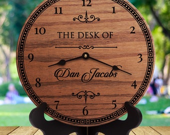 Wooden clocks, personalized wood clock for desk, gift for CEO, gift for manager, gift for director, gift for boss guy, gift for boss man