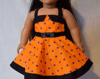 Orange and Purple Polka Dot Halter Top Dress, 18 Inch Doll Clothes