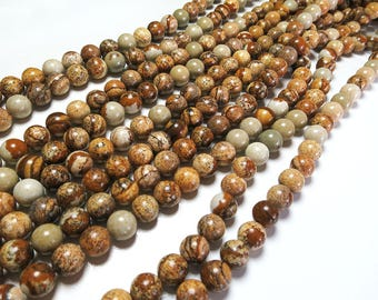 8mm Picture Jasper Beads Polished Round Natural Gemstone Loose 15'' Full Strand