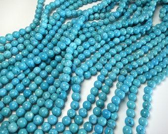"""Blue Turquoise Beads 8mm Round Polished Gemstone Loose 15.5"""" Full Strand"""