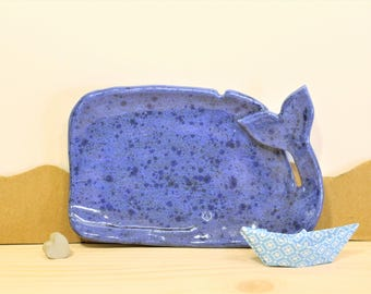 """Large hand made Walschale """"whale"""" jewelry store jewelry bowl Ceramic Blue 15 cm"""