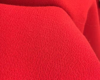 CREPE Fabric By The Yard Crepe WOOL Fabric by the Yard Red Fabric Red Wool Fabric by The Yard Fabric REMNANT Wool Crepe Fabric Dress Fabric