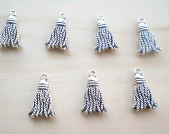 Tassel Charms, Set of 7, 2 Sided Silver Charms, Charm Findings