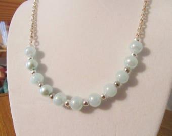 Minimalist necklace, sky blue beads, beach jewelry, handmade necklace, woman's jewelry