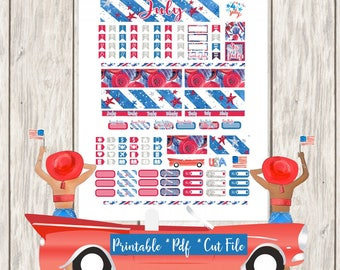 Stars and Stripes Printable Planner Stickers/Annie Plans A6 Monthly Kit/Cutfiles Fourth of July Independance Day Glam