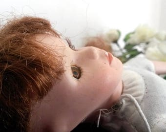 Porcelain Doll, Antique Doll, Wabi Sabi Decor, French, Poupee Porcelaine, Collectible Dolls, ZH